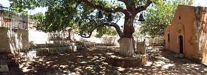 Church of Agia Ioannis, Rodopos peninsula, north western Crete. Beside it the huge plane tree.  Annual pilgrimage August 29th.