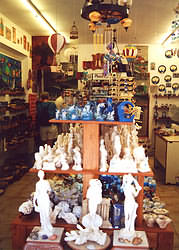 Greek pottery in gift shops is often mass produced, nice pieces can be found.